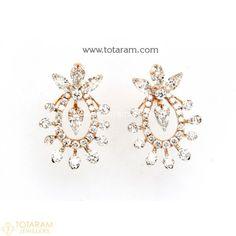Diamond Earrings for Women in 18K Gold VVS Clarity E-F Color -Indian Diamond Jewelry -Buy Online Diamond Earrings For Women, Diamond Dangle Earrings, Diamond Earing, Women's Earrings, Diamond Jewelry, 18k Rose Gold, 18k Gold, Diamond Jhumkas, Gold Polish