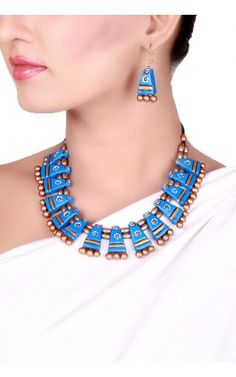 Blue Terracotta necklace set - Down To Earth - Jewelry   Tijori