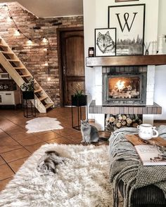 Awesome 53 Magnificient Winter Living Room Decor Ideas To Try Asap Winter Living Room, Cozy Living Rooms, Living Room Decor, Living Spaces, Dog Spaces, Warm Home Decor, Budget Home Decorating, Home Improvement Loans, Style Deco