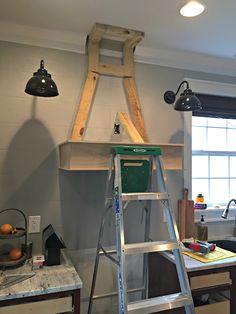 A DIY(ish) Wood Vent Hood | Thrifty Decor Chick Elegant Kitchens, Cool Kitchens, White Kitchens, Dream Kitchens, Wooden Vent Hood, Kitchen Vent Hood, Kitchen Sink, Kitchen Islands, Craftsman Interior