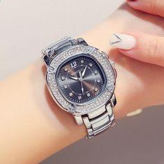 0bd3fa76540 Luxusní dámské Rose zlaté hodinky značky Crystal Sliver Dial módní  náramkové hodinky dámské Womenwrist hodinky Relogio
