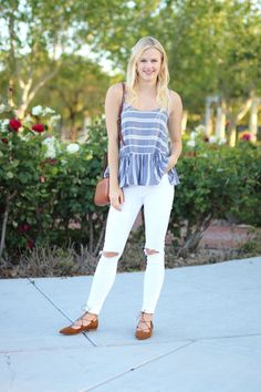 Spring outfit: striped peplum cami, distressed white jeans, lace-up flats and crossbody bag via @treatstrends