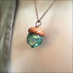 Glass Acorn Necklace Pastel Raku in Turquoise by by bullseyebeads, $30.00