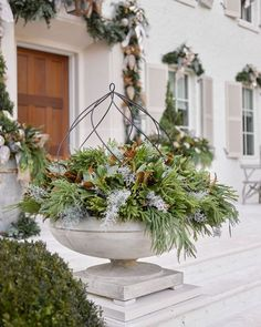Magnificent Christmas decor on exterior of the 2016 Atlanta Home for the Holidays Showhouse with exterior decor by Lisa Mende and Boxwoods Atlanta. Coastal Christmas Decor, Christmas Porch, All Things Christmas, Christmas Lights, Christmas Holidays, Holiday Decorating, Decorating Tips, Cottage Christmas, Primitive Christmas