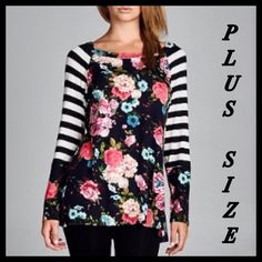 ❗️S-3XL❗️ Floral Striped Long Sleeve Casual Top Brand new top with floral and striped print. Very comfy and an easy top to wear out! Sizes S M L XL XXL XXXL. MED and LG IS SOLD OUT Tops Blouses