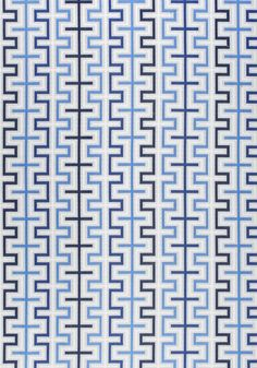 Zipper Outdoor Fabric An eye-catching woven fabric with a geometric design shown in shades of blue, pale grey and off-white.