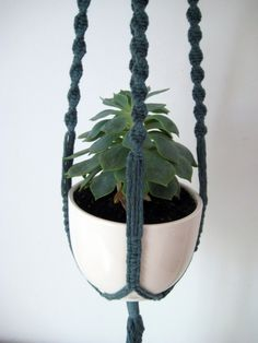 Macrame Plant Hanger, Small Forest Green Hand-Dyed Cotton Twine with Ivory Color Wooden Beads, 29 inches / 74cm's long
