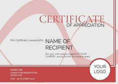 A Red And White themed certificate of appreciation which can easily edited in design wizard! Certificate Of Appreciation, Charity, Red And White, Names, Templates, Design, Stencils, Vorlage