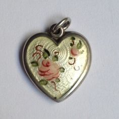 vintage Walter Lampl guilloche heart charm