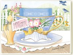 Honoring your Mom by giving her a card on Mother's Day has become an endearing tradition. Many moms feel loved by enjoying lunch with their families in a beautiful garden setting. If this is your Mom's cup of tea, 'Mom' teacup greeting card was created for her in mind. Tucked in the rim of this sweet card is a fragrant Jasmine tea bag for her to savor, and a loving sentiment inside to express your thoughts, just like all the greeting cards you'll find at KimberlyShawGraphics.com