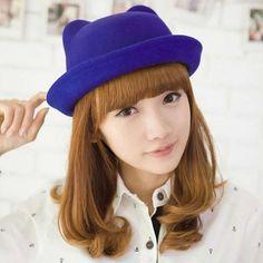 Fashion Wool Parent-Child Women Fedora Bowler Hats Derby Cat Ear Cap Rebel  Style b7298ee9d89a