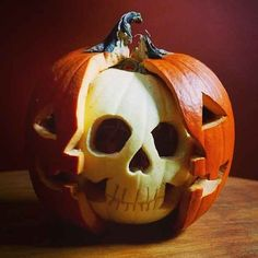 Or a pumpkin with a skull. | 21 Clever Ideas To Vastly Improve Your Halloween Pumpkins