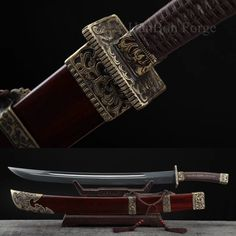This Dao Sword named Tu Long Bao Dao 屠龙宝刀, it has been constructed from forge folded steel. The grain pattern (HADA) of the sword are authentic. The blade has been hand polished. Bo-Hi (blood grooves) has been added to better balance the blade and give audible feedback when the sword is swung. The handle core is made of wood, with brown cord tightly wrapped. The scabbard of the sword is hard wood with beautiful copper mountings.