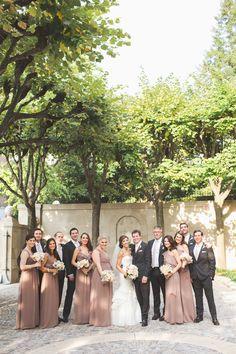 Mocha bridesmaids, dark charcoal groomsmen? Photography: Maria Vicencio Photography - mariavicencio.com/ Read More: http://www.stylemepretty.com/2014/04/16/elegant-meridian-house-wedding/