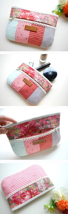 Cute idea for mini pouch sewing project Patchwork Bags, Quilted Bag, Bag Patterns To Sew, Sewing Patterns, Small Sewing Projects, Pouch Bag, Pouches, Zipper Bags, Zipper Pouch