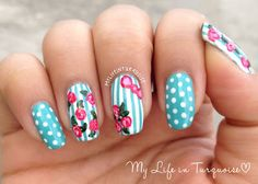 My Life in Turquoise: Mothers Day Manicure - Vintage Roses