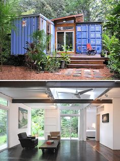 Beautiful homes from shopping containers ~ several examples on this website. Economic and ecologic!