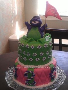 Coolest Barney Birthday Cake... This website is the Pinterest of birthday cake ideas
