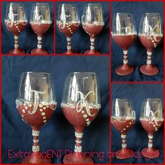 Glittered Wine Glasses are available at www.extravagentplanninganddesign.com Glitter Wine Glasses, Customized Gifts, Tableware, Personalized Gifts, Dinnerware, Personalised Gifts, Dishes, Place Settings