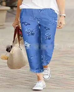 Women Blue Pockets Shift Pants Clothes For Women Over 40, Pants For Women, Gingham Pants, Floral Print Pants, New Arrival Dress, Plus Size Casual, Stripes Fashion, Outerwear Women, Trouser Pants