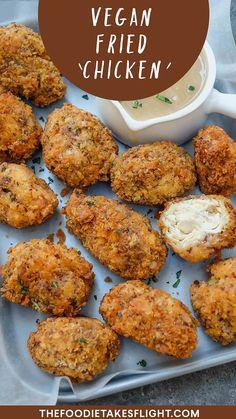 "Vegan Fried ""Chicken"" and Gravy – The Foodie Takes Flight Vegan Meat Recipe, Tasty Vegetarian Recipes, Vegan Dinner Recipes, Vegan Recipes Easy, Veggie Recipes, Whole Food Recipes, Cooking Recipes, Firm Tofu Recipes, Seitan Recipes"