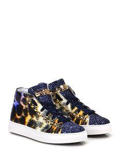 STOKTON - Sneakers - Donna - Sneaker in pelle lavorata e glitter con zip su lato interno e borchie su ambo i lati. Suola in gomma, tacco 35. - BLU\MULTICOLOR