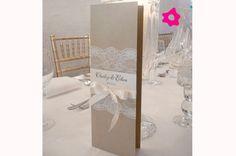 Cartão do menu combinando com a decoração do casamento