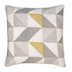 Delta Grey & Yellow Luxury Filled Square Cushion  - Julian Charles