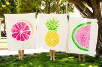 These towels are adorable☀️ this is so cool and a great arty textile project to keep them occupied while you pack and do jobs for your summer holiday away , get them to fabric paint their own beach towels with funky fruit designs