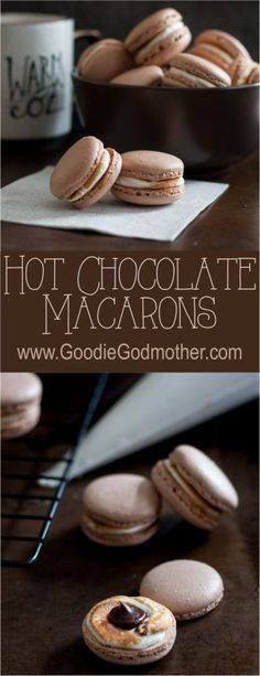 The weather outside is frightful, but hot chocolate macarons are sure to warm yo. - The weather outside is frightful, but hot chocolate macarons are sure to warm your heart – deligh - Baking Recipes, Cookie Recipes, Dessert Recipes, Recipes Dinner, Just Desserts, Delicious Desserts, Yummy Food, Caramel Vegan, Macaron Caramel