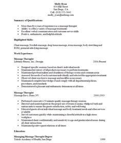 Massage Resume massage therapist resume objective Resume For Massage Therapist Student