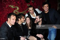 Comedians/singers Solal, Mikelangelo Loconte, Maeva Meline, Merwann Rim (White shirt), Florent Mothe and producer Dove Attia attend the 'Mozart' Rock Opera the Party at Le Milliardaire Club on January 4, 2010 in Paris, France.