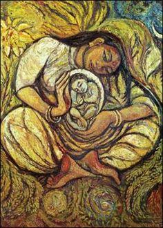 Paintings Reasonable European Art Original Oil Painting On Canvas Monica Blatton Woman Child Mother