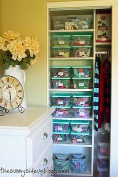 Organizing kids' closet with toys