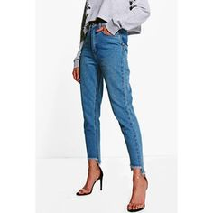 Boohoo Emily Displaced Pocket Step Hem Mom Jeans