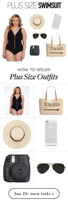 """Plus size it up! :)"" by melodymaker on Polyvore featuring Miraclesuit, Ray-Ban, Style & Co., stylishcurves and plussizeswimsuit"