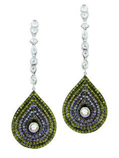 Sethi Couture 18K White Gold Plume Linear Rose  Cut Diamond Earrings Accented with shades of Natural Pink, Green, and Champagne Diamonds.