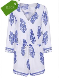 Sexy Plunging Neckline Print Flared Sleeve Romper For Women