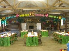 LUAU THEMED BALLOON DECORATIONS FOR 16TH BIRTHDAY