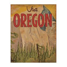 Take a vacation - Oregon vintage travel poster. Wood Print