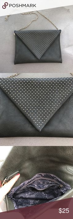 Grey Leather Purse Super glam and fun Purse, originally bought from Stitch Fix. Gold chain and studs on front, snaps closed. One pocket inside with zipper. Used only a few times! Urban Expressions Bags Crossbody Bags