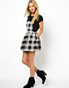 Image 4 of ASOS PETITE Exclusive Pinafore Dress In Check