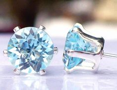 NEW Sterling Silver EARRINGS Full 7mm 1.5ct each VVS+ Bright Sky Blue TOPAZ #Handmade #Stud