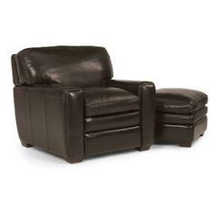 Flexsteel Wayne Collection 34 Brown Leather Chair And Ottoman Chairs And Ottomans