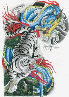 Half sleeve tiger and dragon tattoo design