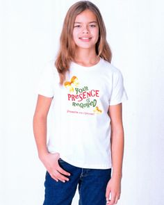 Presence - Youth tee-shirt  The best gift you can give to your loved ones this year is your presence. Be a positive presence in the lives of others this year in this happy tee-shirt from American Apparel.  Really being present means more than showing up for dinner, though.  Give a little more of yourself, your undivided attention, join in the fun and participate in the experience.