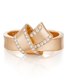 Carelle Rose Gold and Diamond Pave Perimeter Knot Ring