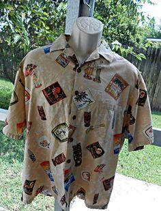 Hawaiian HILO HATTIE Men's Aloha Shirt Tikis Hula Girls Surfing More! XL  #HiloHattie #ButtonFront