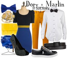 "An adorable Dory and Marlin ""Finding Nemo"" inspired Disneybound! The Dory outfit is perfect, and the Marlin one is fit for a dapper gentleman! Disney Themed Outfits, Disney Bound Outfits, Disney Dresses, Couple Outfits, Disney Clothes, Couple Costumes, Dory And Marlin, Disney Inspired Fashion, Disney Fashion"