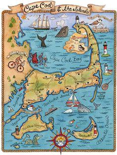 Carte de Cape Cod et les îles